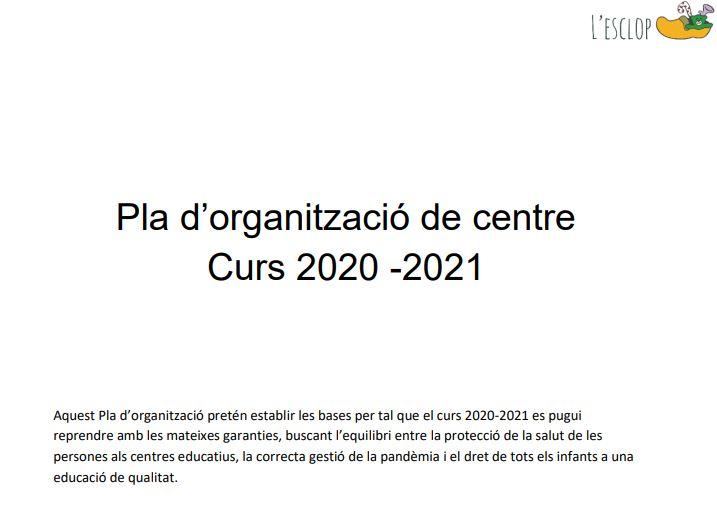Pla d'organització centre curs 2020-2021